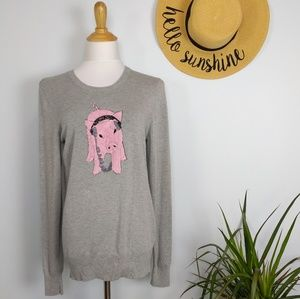 French Connection Sequin Animal Pig Sweater L